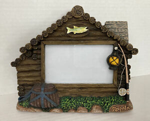 Genuine Rapala Sculpted Photo Frame Fishing Cabin House Collectable EUC