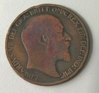 1903 Great Britain 1/2 Half Penny Bronze Coin