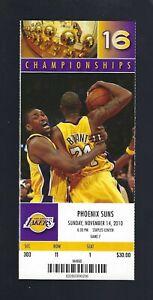 2010 NBA SUNS @ LOS ANGELES LAKERS FULL UNUSED TICKET - KOBE BRYANT - NOV 14