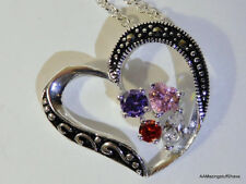 """Heart Pendant Necklace in Fine Silver-Plate 18"""" Cubic Zirconia 1""""  $50 NEW"""