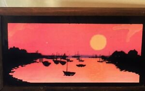 Vtg Reverse Paint Glass Sunset Water Fishing Sail Junk Boats Shore Picture Frame