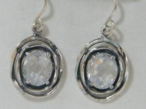 Unique Sterling Silver SHABLOOL dangle White White CZ Earrings