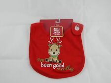 Carter's Just One Year 100% Cotton Embroidered Christmas Reindeer Baby Bib Red