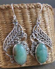 New Aqua Chrysoprase Stone Filigree Dangle Sterling Silver Wire Earrings #125