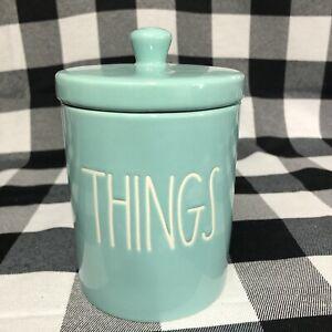 Rae Dunn Things Teal Blue Tiffany Jar Container Lid Farmhouse LL Storage Bath