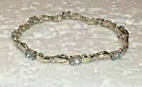 """Vtg HAN Solid Sterling Silver Blue Stone TENNIS BRACELET 7.5 in """" Link 925 Love"""
