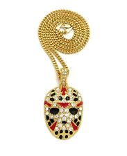 """ICED OUT JASON MASK PENDANT WITH 24"""" CUBAN CHAIN"""