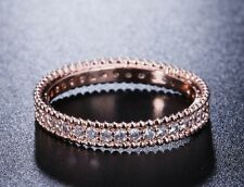 68da693fe GENUINE CZ ENCRUSTED ROSE GOLD STACKING RING LOVELY WITH WEDDING BAND SIZE  58