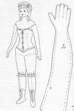 """18""""VINTAGE FRENCH FASHION/CHINA HEAD/PARIAN DOLL CLOTH BODY CORSET BOOTS PATTERN"""