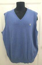 Polo Ralph Lauren Sweater Vest sz 2XLT Pima Cotton V Neck Shelter Light Blue NEW