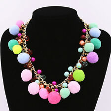 Multi-Color Faux Fur Ball Chain Choker Collar Pendant Necklace Women Jewelry UK