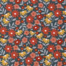 Baumwollstoff GOTS Bio Popeline Blumen abstrakt petrolgrün rot 1,50m Breite