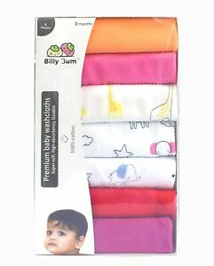 Cotton-Reusable Extra Soft Face Towels washcloth for Babies 7 pieces Multi Color
