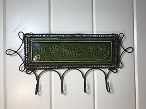 """French Country Home Sweet Home Black Metal & Ceramic 4 Hook Plaque 14.5"""" X 7"""""""