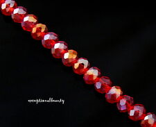 140 Celestial Crystal Faceted Red AB Tiny Small 4x3mm Rondelle Spacer Beads