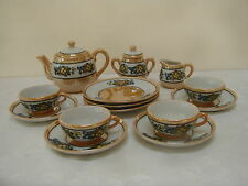VTG Lusterware Japan Porcelain Child's TEA SET teapot Miniature Orange Floral