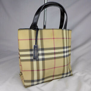 Authentic Vintage Burberry Nova Check Mini Tote Handbag Purse With Charm VGC