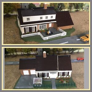 N GAUGE~Plastic~Buildings~House with Back & Front Gardens,People,Greenhouse etc