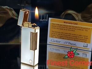 Dunhill Lighter Vintage Silver Gold Rollagas Functional Serviced Warranty Ex SS1