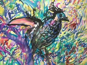 Hunt Slonem - watercolor