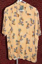 ISLAND HEAVEN peach Hawaiian pineapples silk short sleeve shirt M (T48-0DC8G)