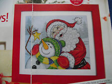 JOAN ELLIOTT'S HAPPY HOLIDAYS FATHER CHRISTMAS AND SNOWMAN CROSS STITCH CHART