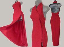 KAREN MILLEN Vintage Red Jacquard Halterneck Oriental Cocktail Maxi Dress UK 12