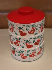 TUPPERWARE vintage Christmas 3 tier stacking candy canister/dishes #2062 red lid