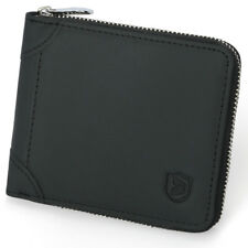Genuine Leather Mens Zipper Zip Around Organizer Bifold Short Wallet Black RFID