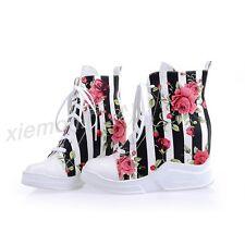 Womens Floral Hidden Wedge Platform Ankle Boot Stripe Heels Sneaker Trainer Plus