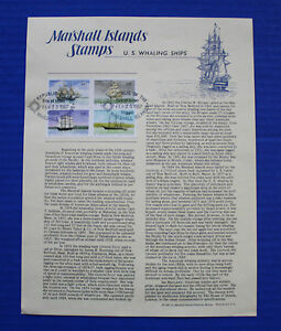 Marshall Islands (135a) 1987 U.S. Whaling Ships Souvenir Page