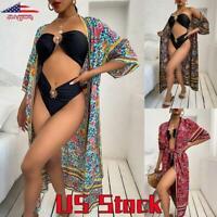 Womens Boho Style Kimono Cardigan Jacket Short Sleeve Loose Shawl Bikini Cover