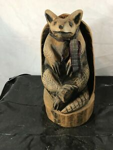 Chainsaw Carved ARMADILLO Sculpture Wooden Statue Tree Carving ArtistJD Colorado
