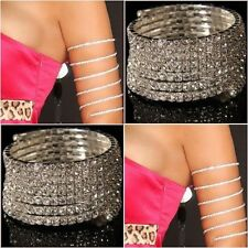 730 - Stretch Silver Rhinestone Wrap Around Upper Arm Bracelet Fashion Jewellery