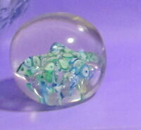 """VINTAGE PAPERWEIGHT CLEAR GLASS SEA FLOWERS CONTROLLED BUBBLE SZ 2 3/4""""T 3""""DIM."""