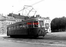 PHOTO  BELGIUM TRAMS 1959 MONS AV. ARME SNCV S TRAM  NO  10166  ON ROUTE 90 RED