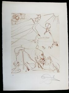 SALVADOR DALI Etching L'ALCHEMIE in sepia Signed 1972 Arches