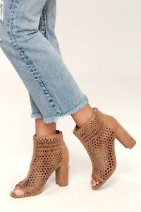 Brand NEW! REPORT Women Sz. 8 Tan Peep-Toe Vegan Perforated Booties Pumps Heels