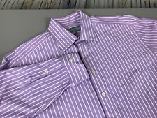 Men's Hickey Freeman Dress Shirt Size 16-35 Purple Striped Long Sleeve Button Up