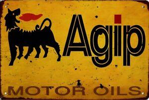 "Retro Blechschild Vintage Nostalgie look 20x30cm ""Agip"" neu"