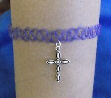 Handmade Tibetan Silver Unique Cross Pendant on Purple Flexible Choker