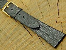 Vintage Speidel Black Lizard Grain w Gold Tone Buckle Watch Band 19mm NOS Unused