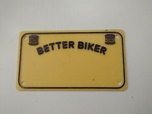 Vintage 1981 Burger King Yellow Plastic Bicycle License Plate Better Biker