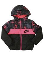 Nike Toddler's Zip Front Racer Pink/Black Hooded Puffer Jacket Sz: 4T