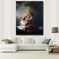 Rembrandt Storm on Sea Galilee Jesus Christian Artwork Print Canvas 32X40 LARGE