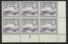CYPRUS SG155a 1943 1pi VIOLET PLATE BLOCK OF 6 MNH