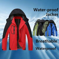 Men Jacket 2in1 Outdoor Hooded Waterproof Patchwork Coat Softshell Hiking&Ski OL