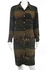 Lauren Ralph Lauren Brown Green Silk Polo Theme Print Button Front Dress Size 10
