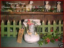 Primitive Glass Jar Bottlebrush Tree & Deer on Mica Snow Xmas Decor Santa Tag