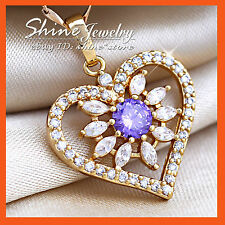 18K GOLD GF P138 AMETHYST SIMULATED DIAMOND HEART SOLID PENDANT MOTHER DAY GIFT